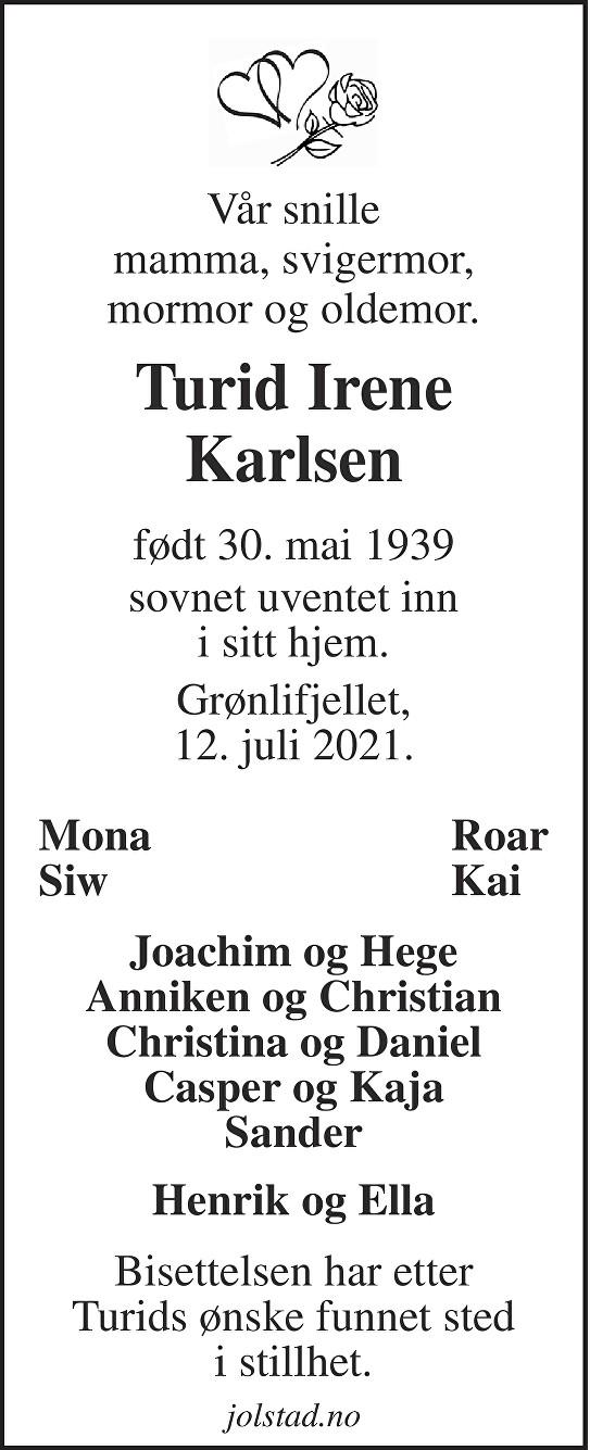 Turid Irene Karlsen Dødsannonse