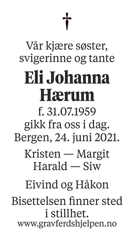 Eli Johanna Hærum Dødsannonse
