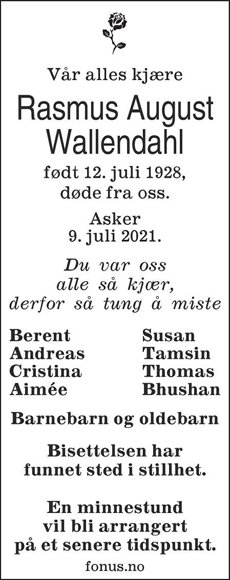 Rasmus August Wallendahl Dødsannonse