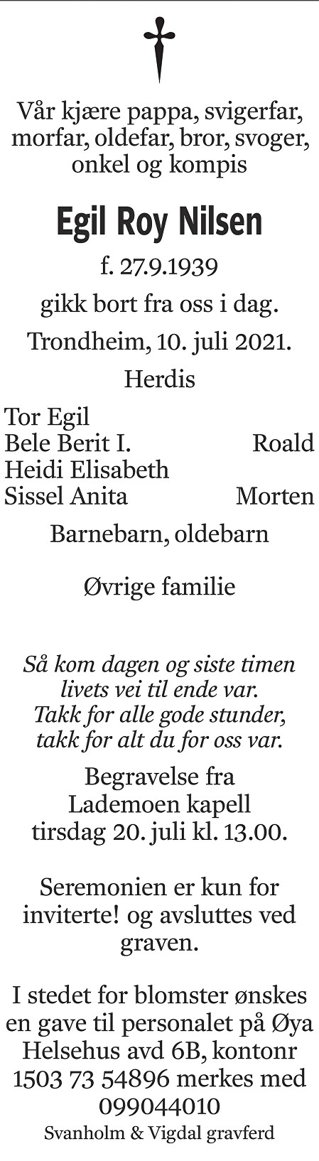 Egil Roy Nilsen Dødsannonse