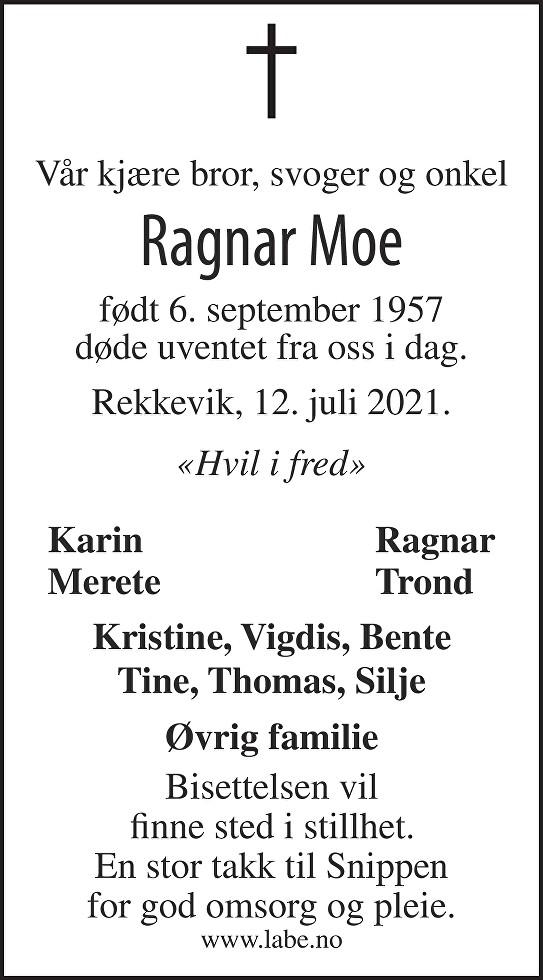 Ragnar Moe Dødsannonse