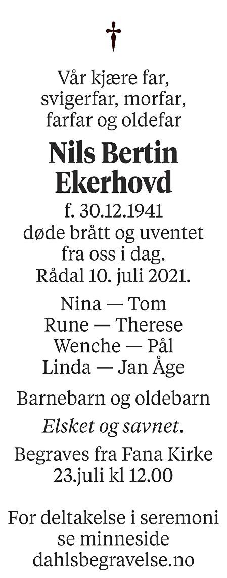 Nils Bertin Ekerhovd Dødsannonse