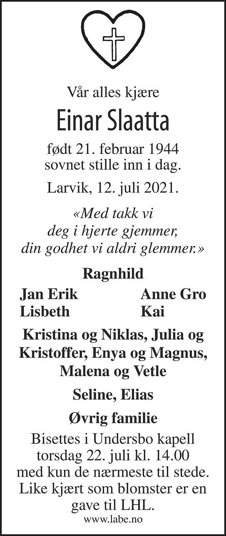 Einar Slaatta Dødsannonse