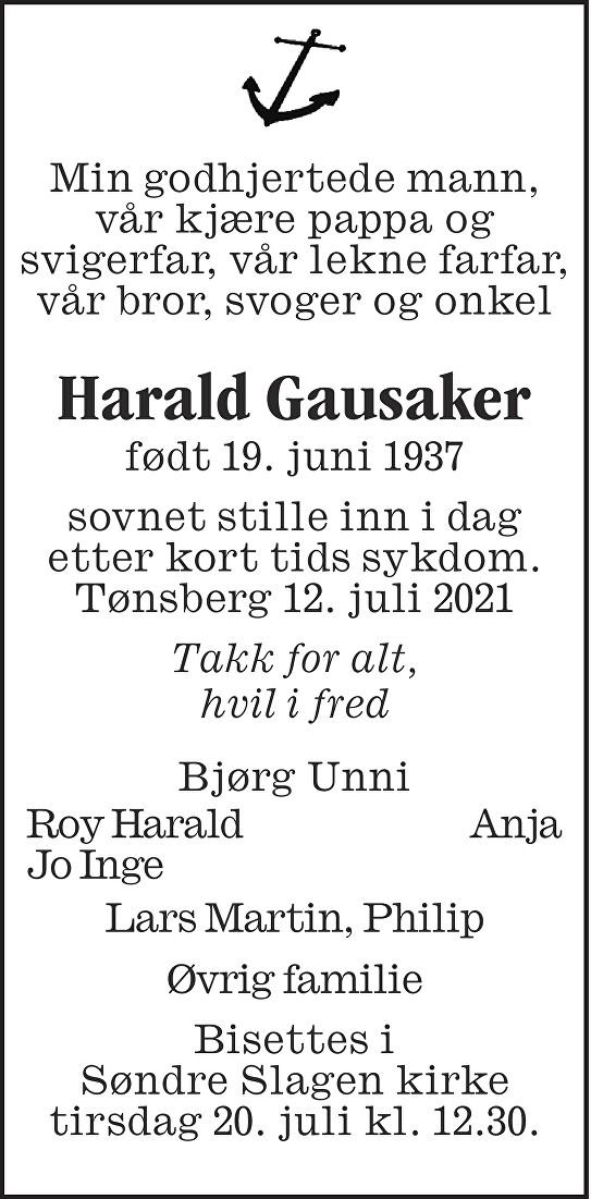 Harald Gausaker Dødsannonse