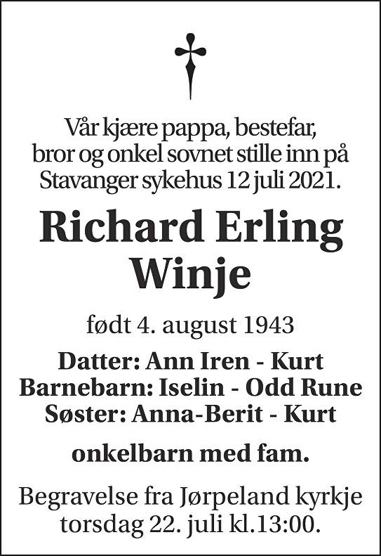 Richard Erling Winje Dødsannonse