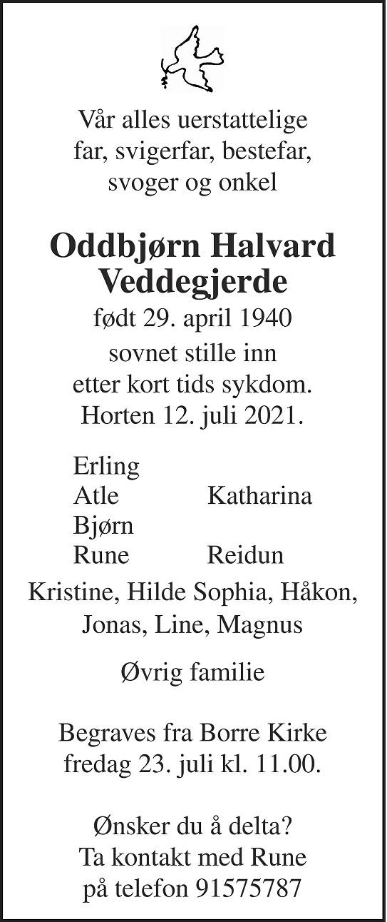 Oddbjørn Halvard Veddegjerde Dødsannonse