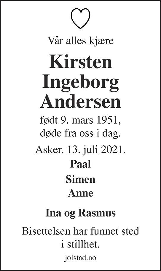 Kirsten Ingeborg Andersen Dødsannonse