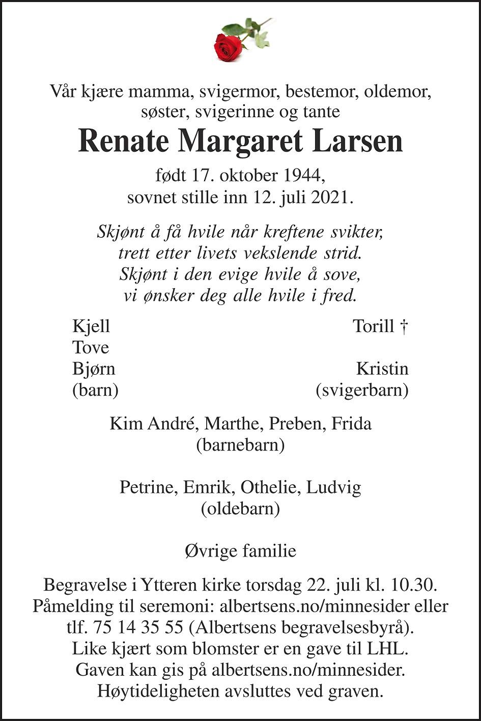 Renate Margaret Larsen Dødsannonse