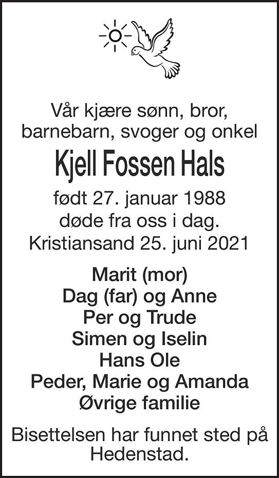 Kjell Fossen Hals Dødsannonse