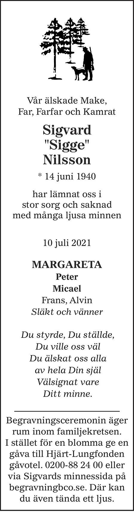Sigvard Nilsson Death notice
