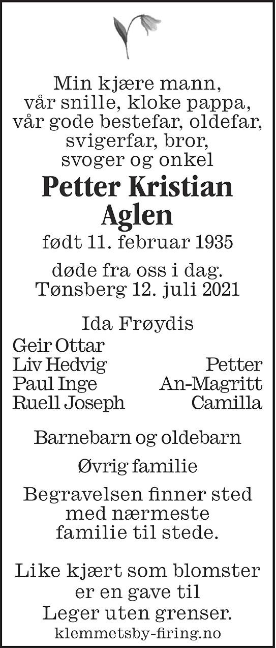 Petter Kristian Aglen Dødsannonse