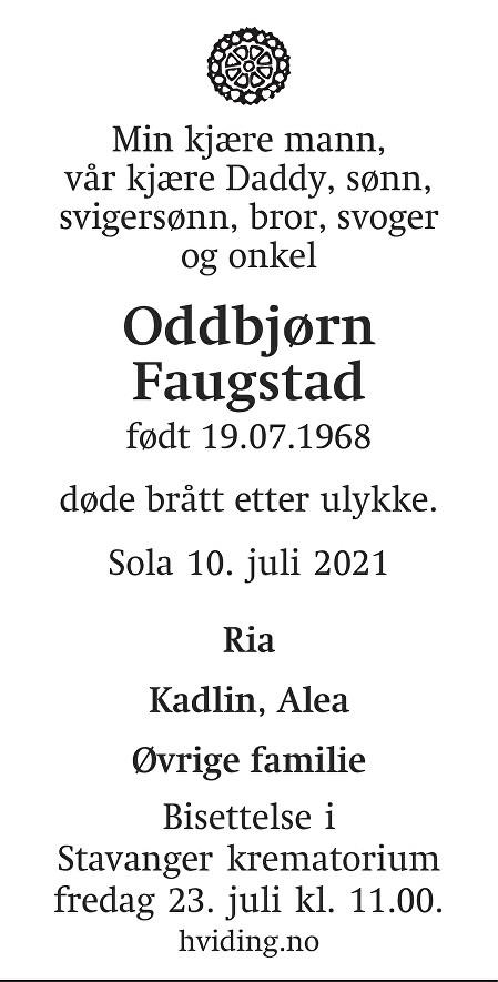 Oddbjørn Faugstad Dødsannonse
