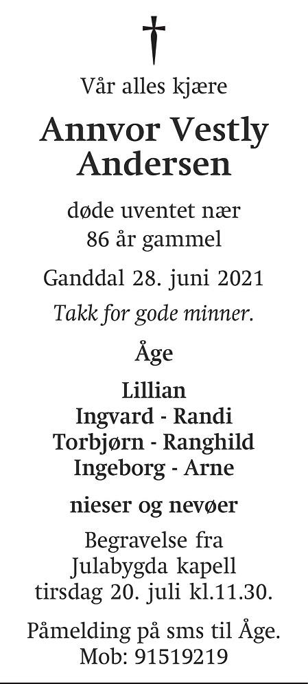 Annvor Vestly Andersen Dødsannonse