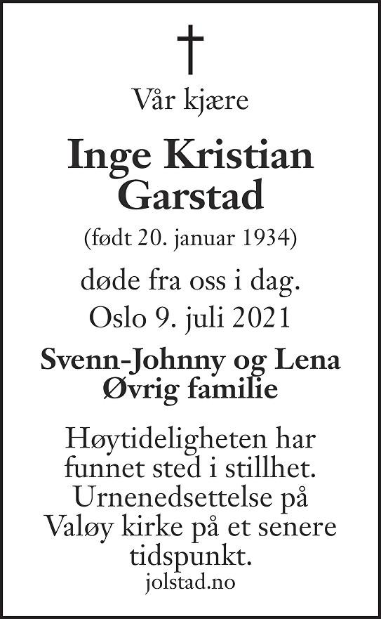 Inge Kristian Garstad Dødsannonse