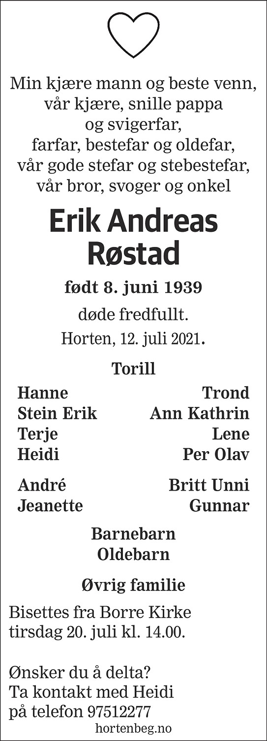 Erik Andreas Røstad Dødsannonse