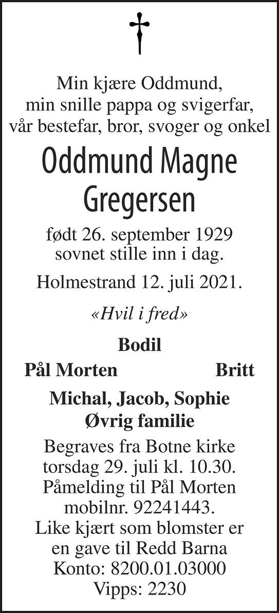 Oddmund Magne Gregersen Dødsannonse