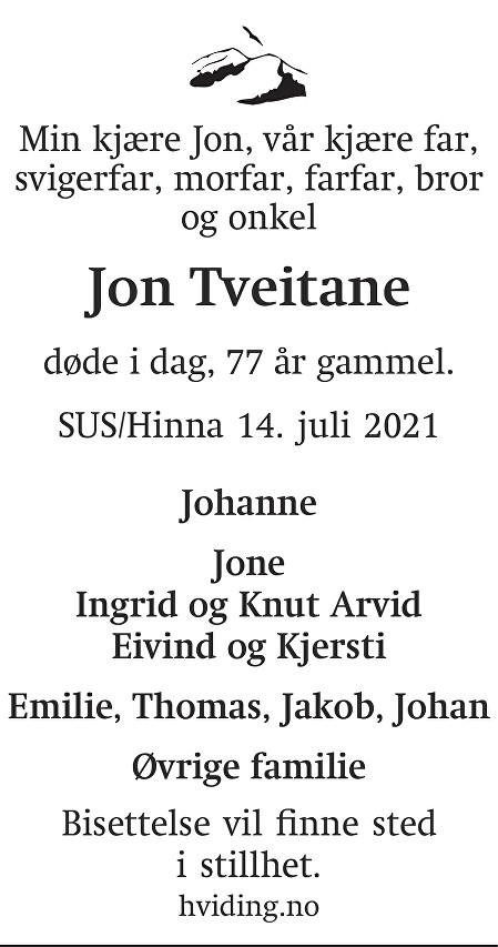 Jon Ingemund Tveitane Dødsannonse