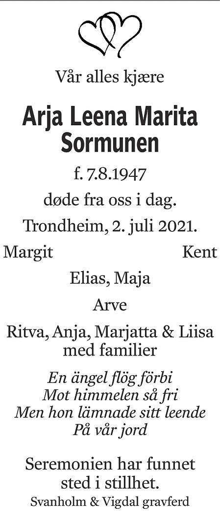 Arja Leena Marita Sormunen Dødsannonse