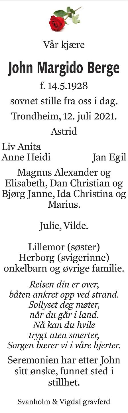 John Margido Berge Dødsannonse