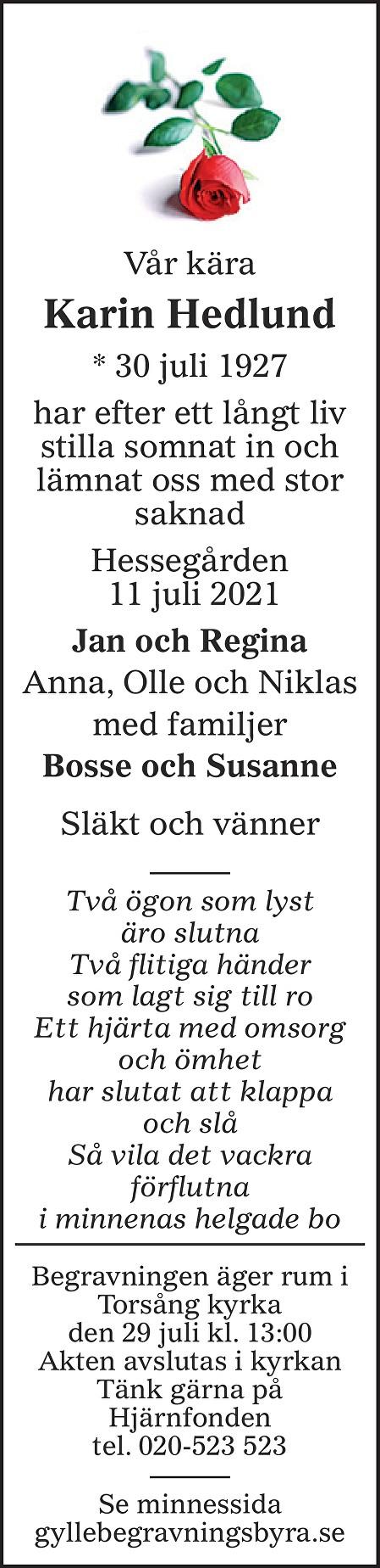 Karin Hedlund Death notice