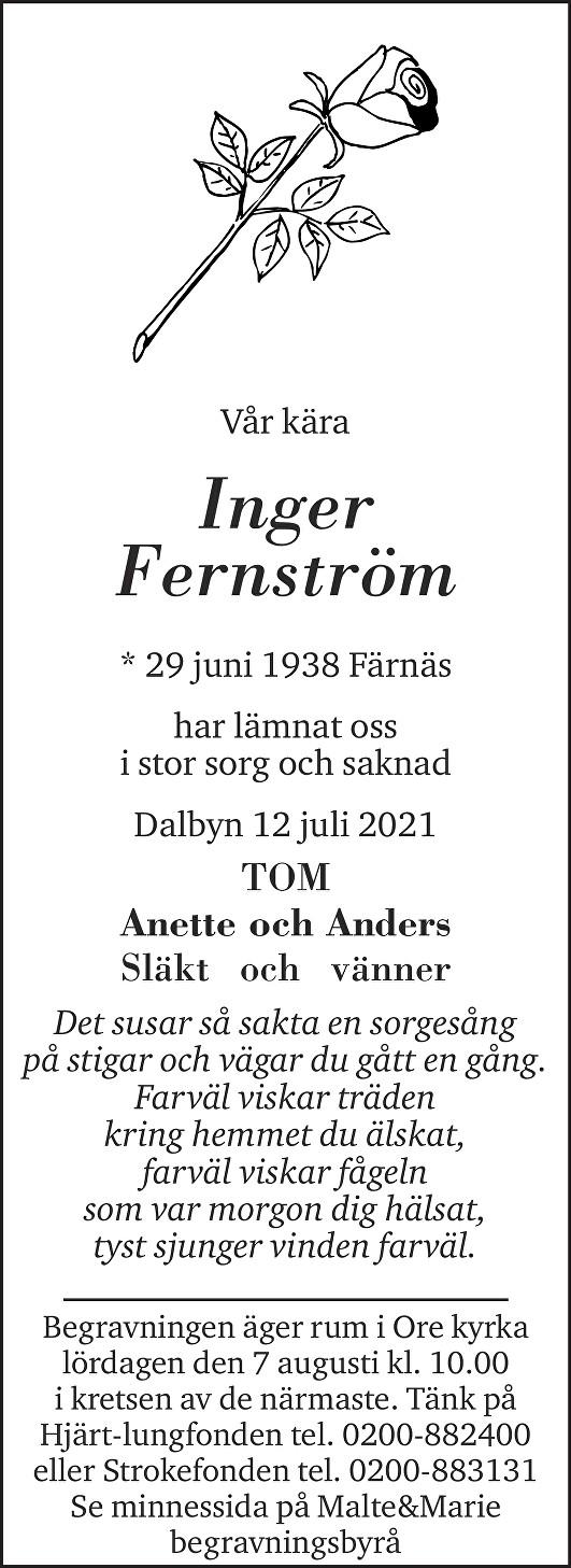 Inger Fernström Death notice