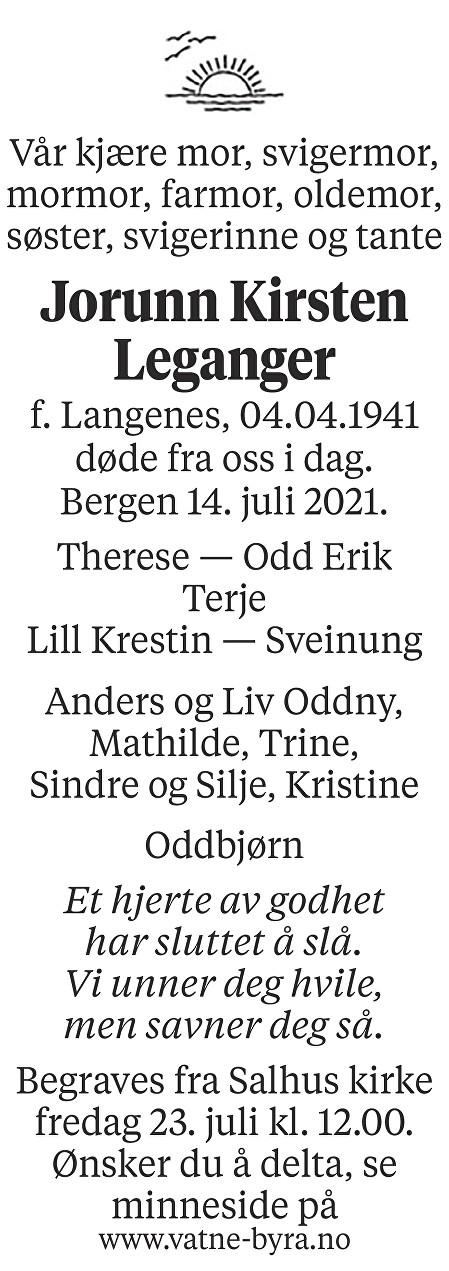 Jorunn Kirsten Leganger Dødsannonse