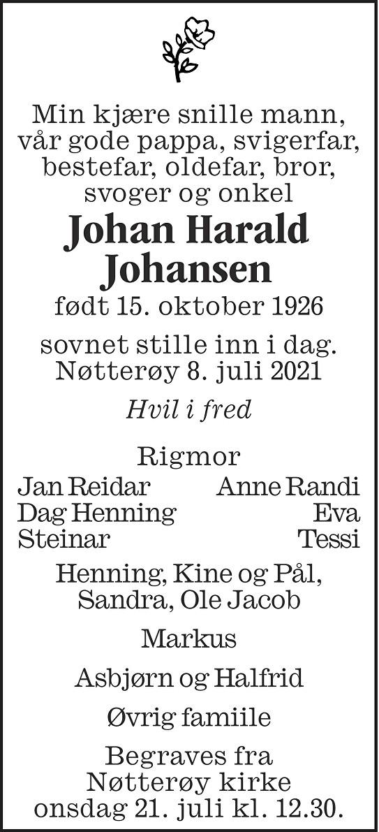 Johan Harald Johansen Dødsannonse