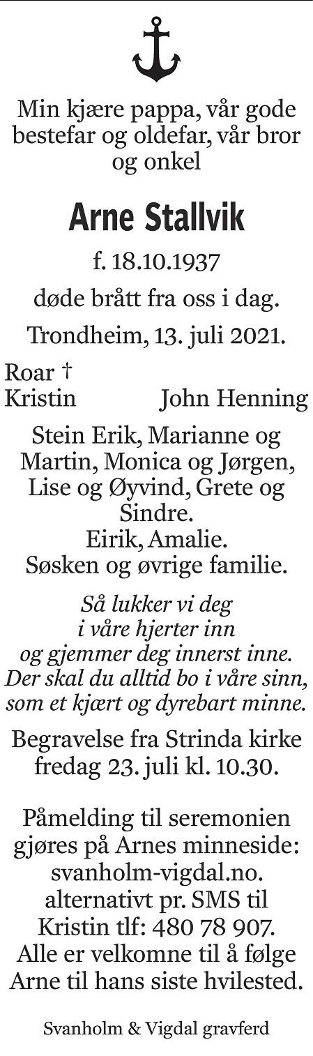 Arne Stallvik Dødsannonse