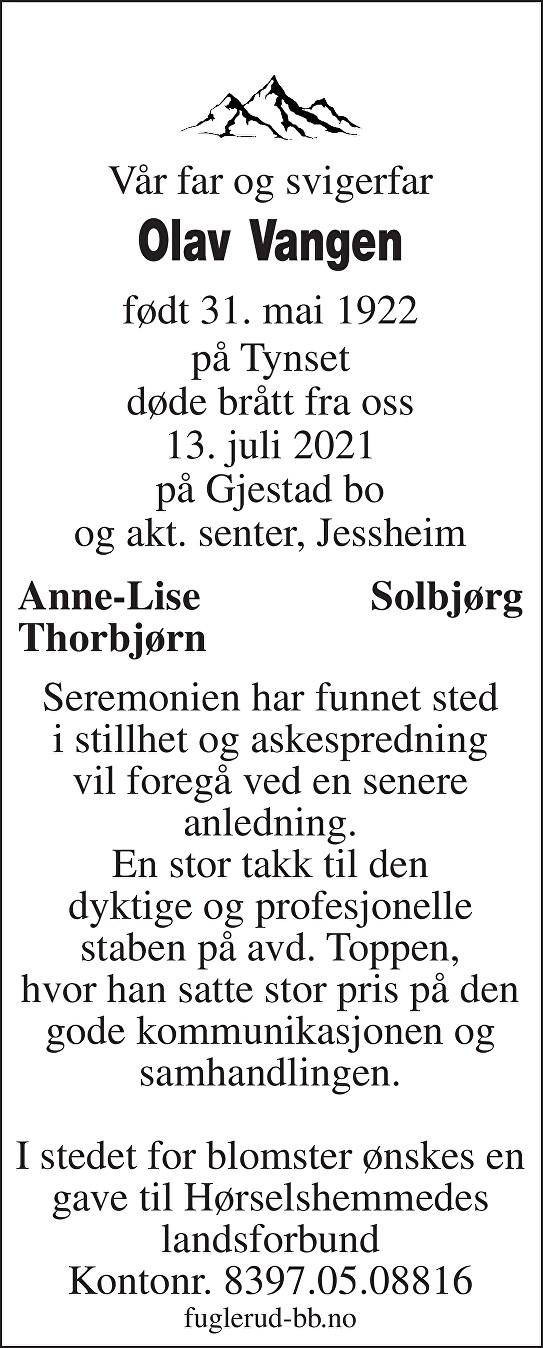 Olav Vangen Dødsannonse