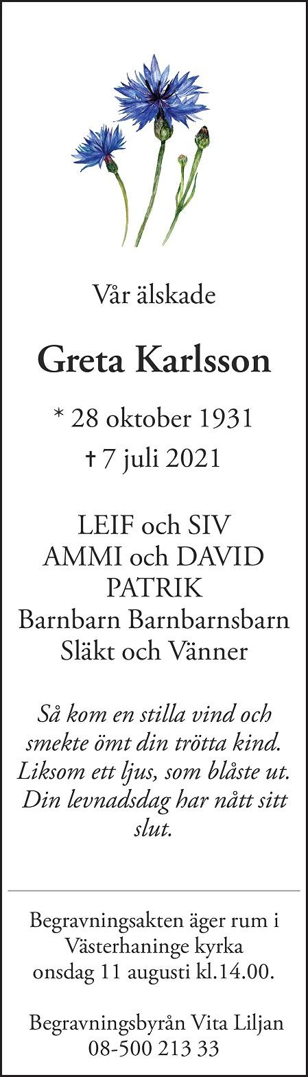 Greta Karlsson Death notice
