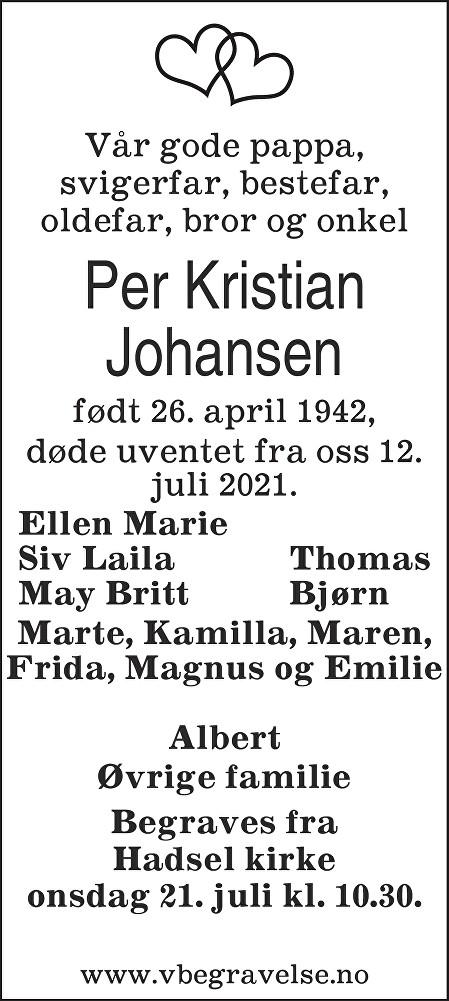Per Kristian Johansen Dødsannonse