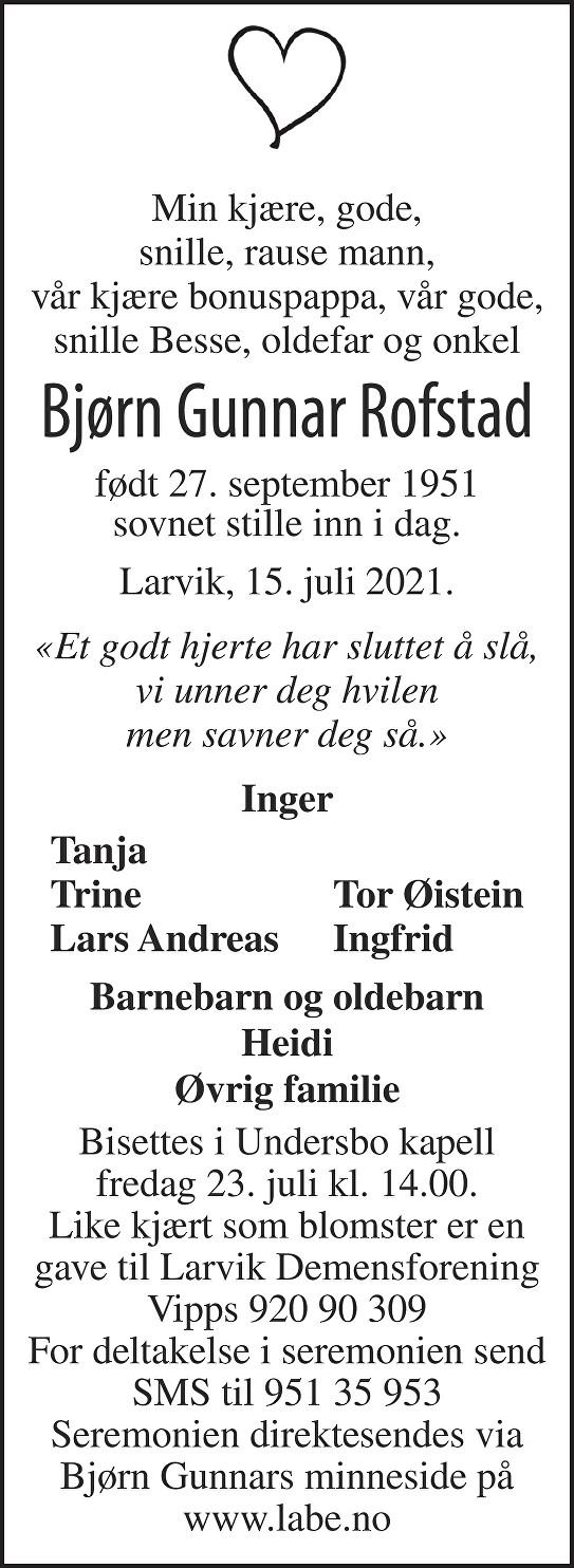 Bjørn Gunnar Rofstad Dødsannonse
