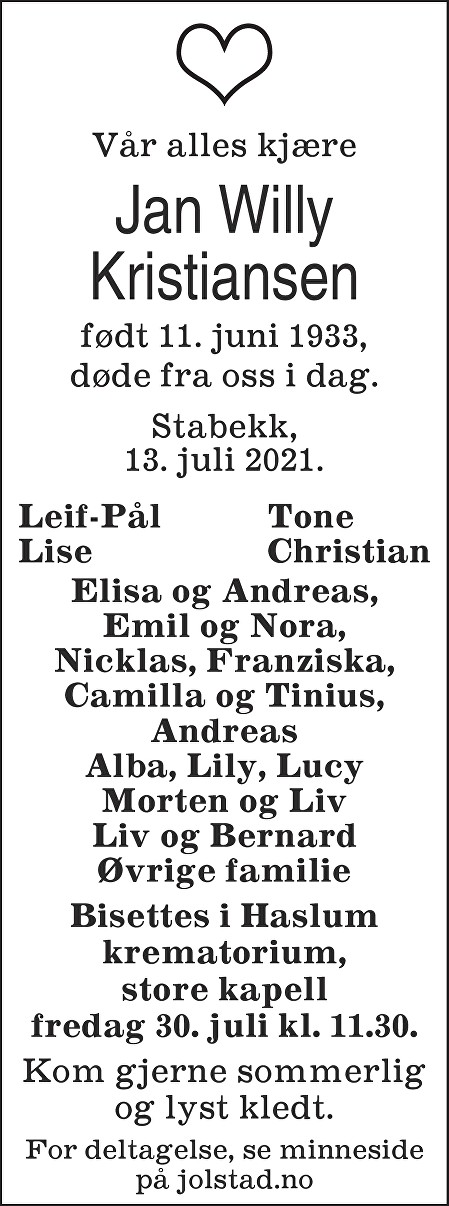 Jan Willy Kristiansen Dødsannonse