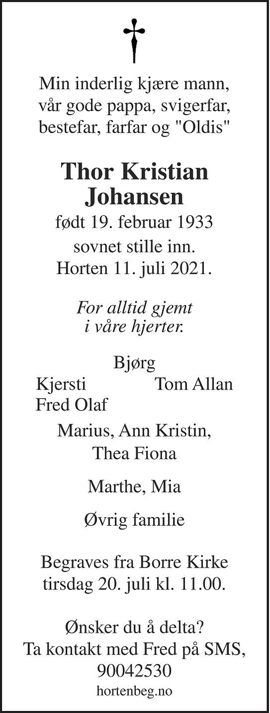 Thor Kristian Johansen Dødsannonse