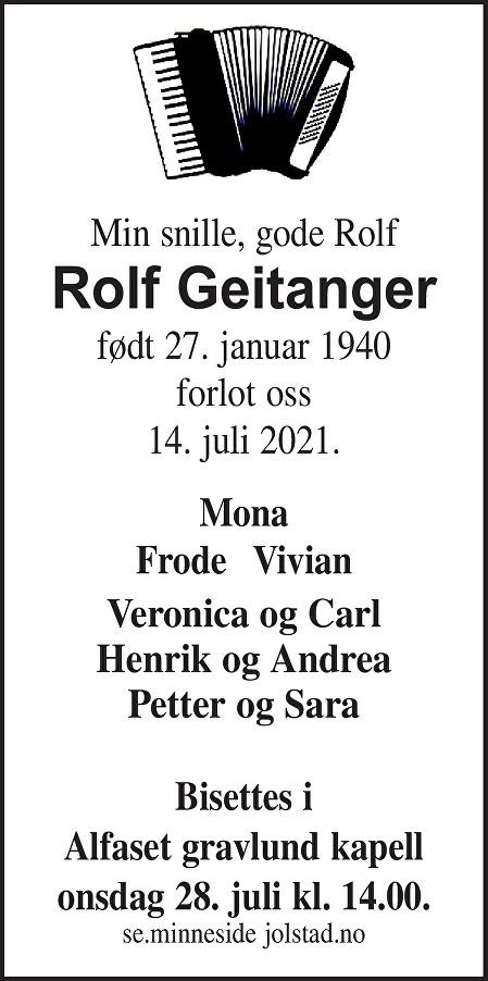Rolf Arne Geitanger Dødsannonse