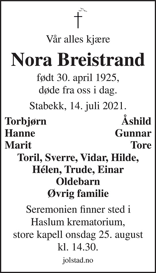 Nora Breistrand Dødsannonse