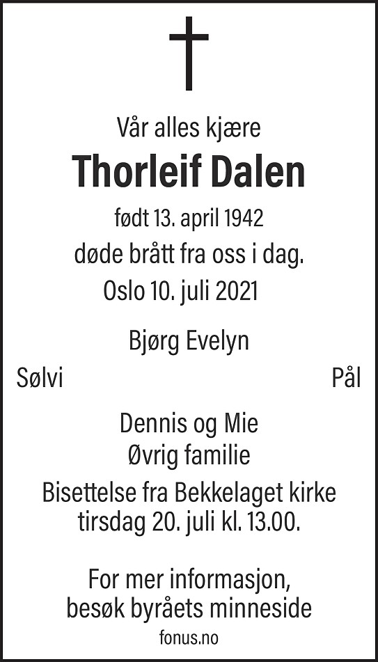 Thorleif Dalen Dødsannonse