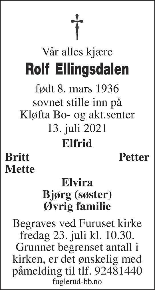 Rolf Ellingsdalen Dødsannonse