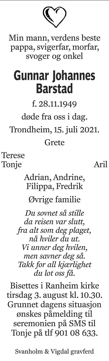 Gunnar Johannes Barstad Dødsannonse