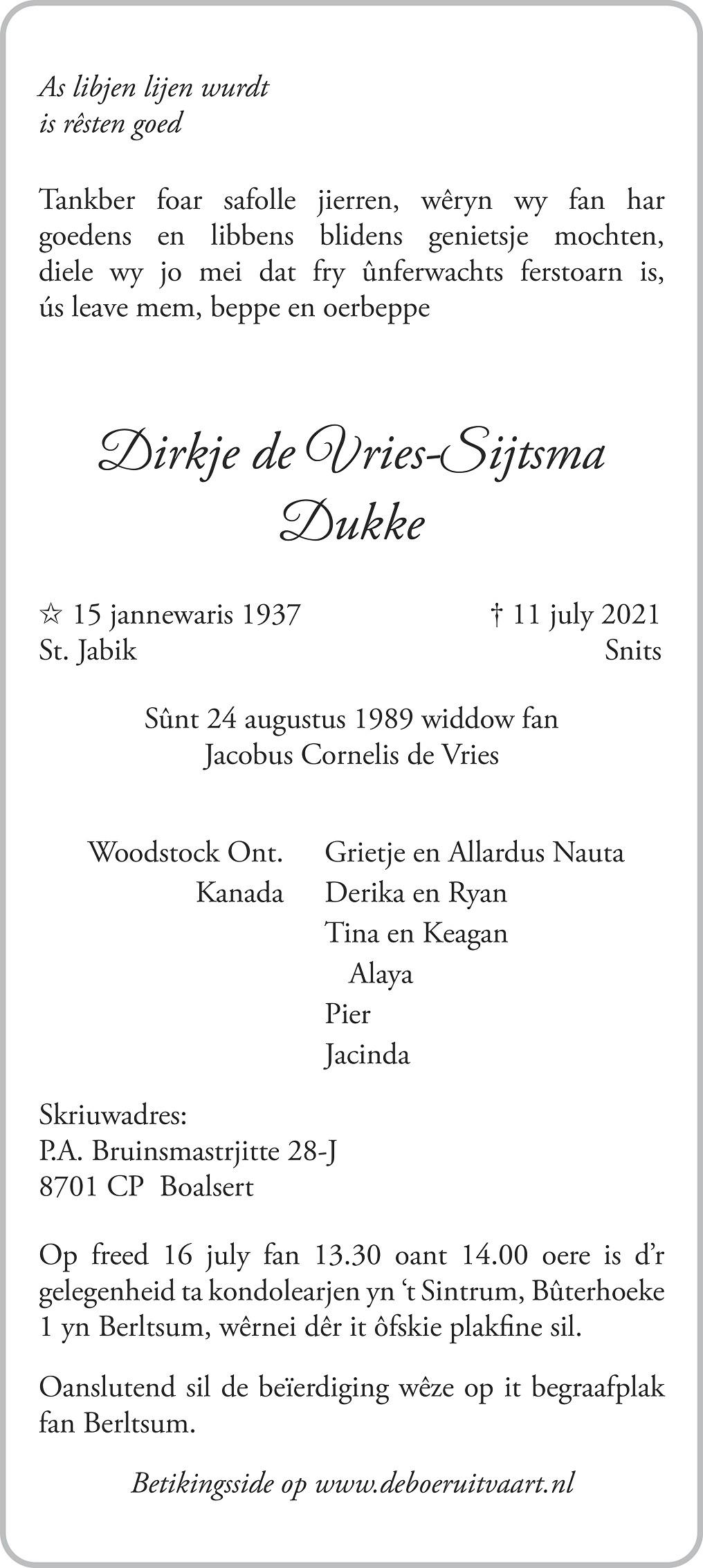 Dirkje de Vries-Sijtsma Death notice