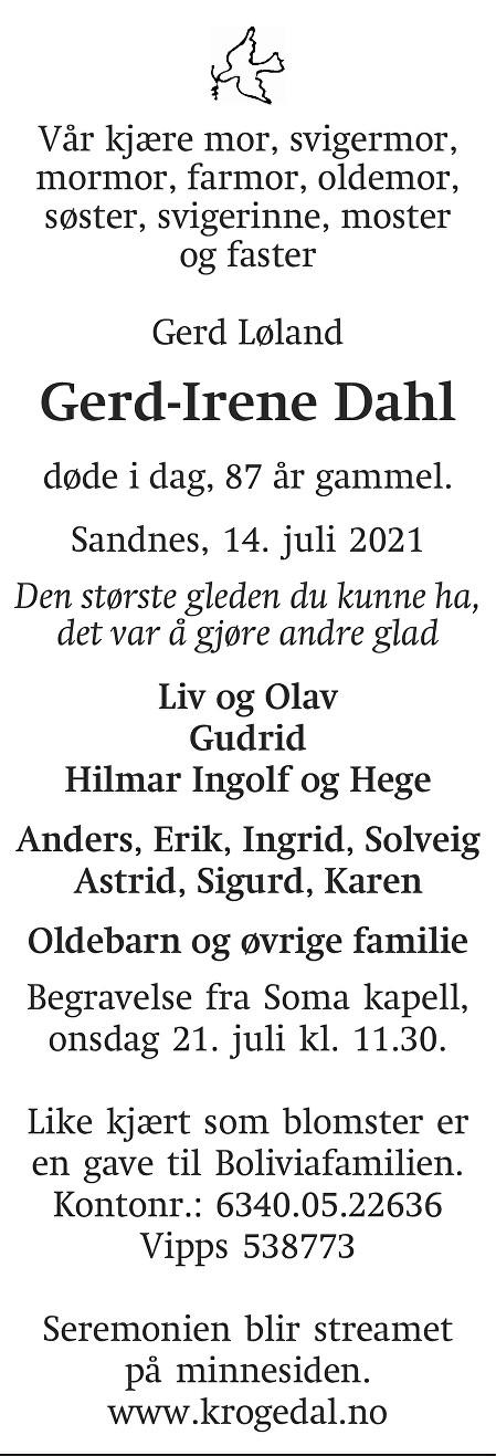 Gerd-Irene Dahl Dødsannonse