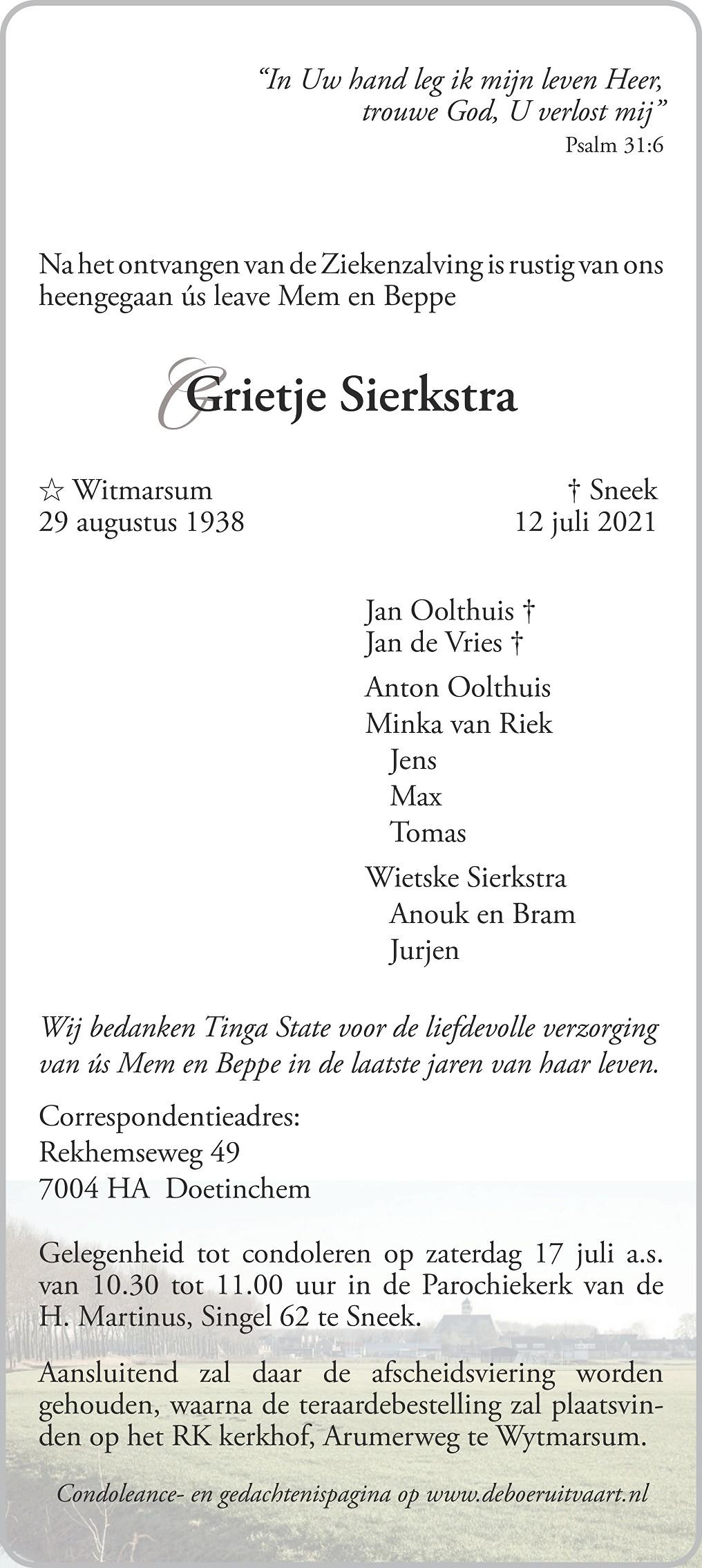 Grietje Sierkstra Death notice