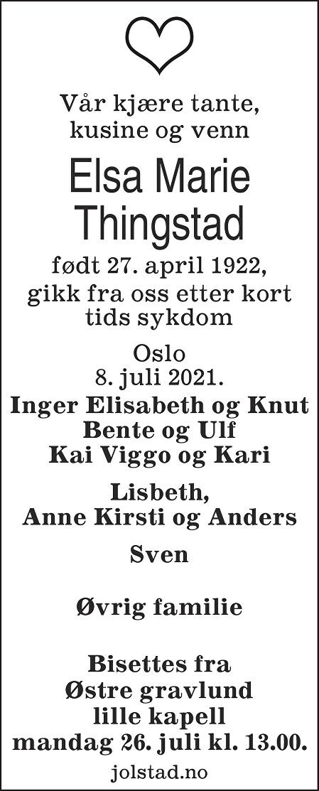 Elsa Marie Thingstad Dødsannonse