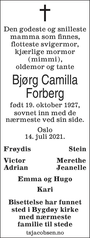 Bjørg Camilla Forberg Dødsannonse