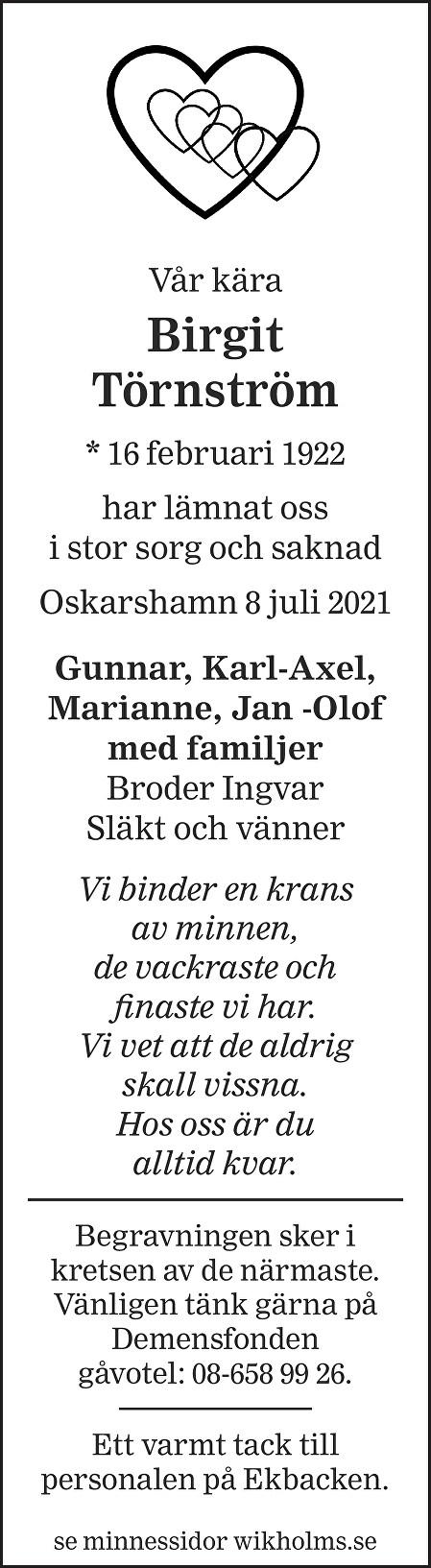 Birgit Törnström Death notice