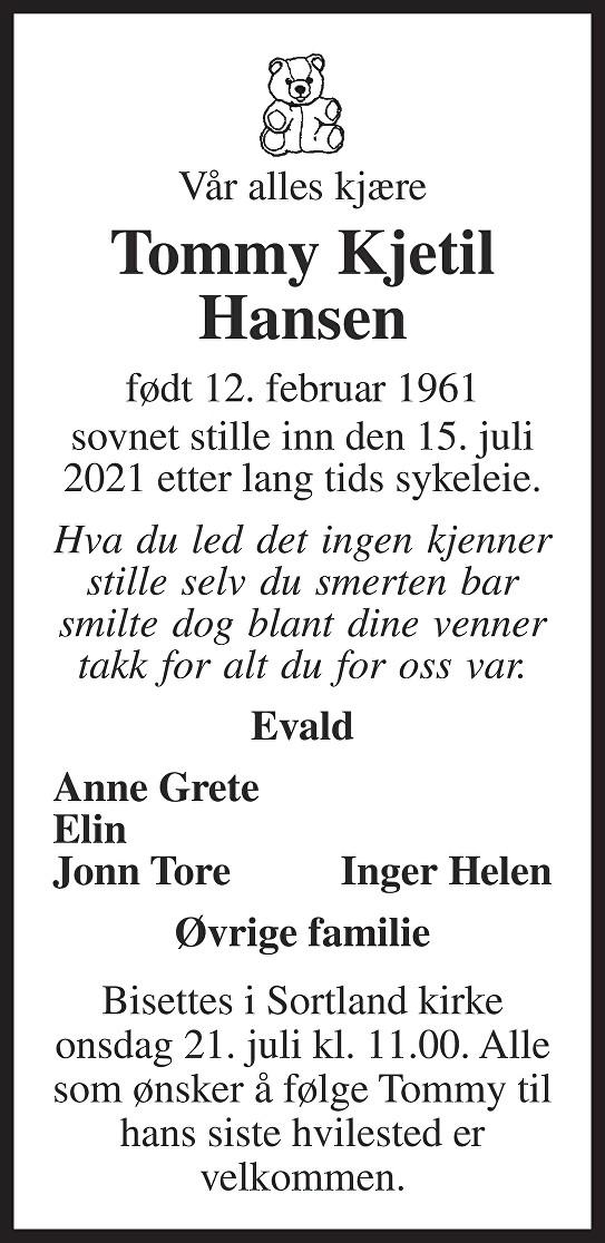 Tommy Kjetil Hansen Dødsannonse
