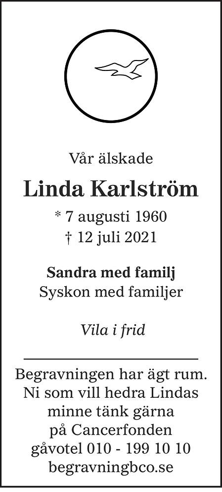 Linda Karlström Death notice