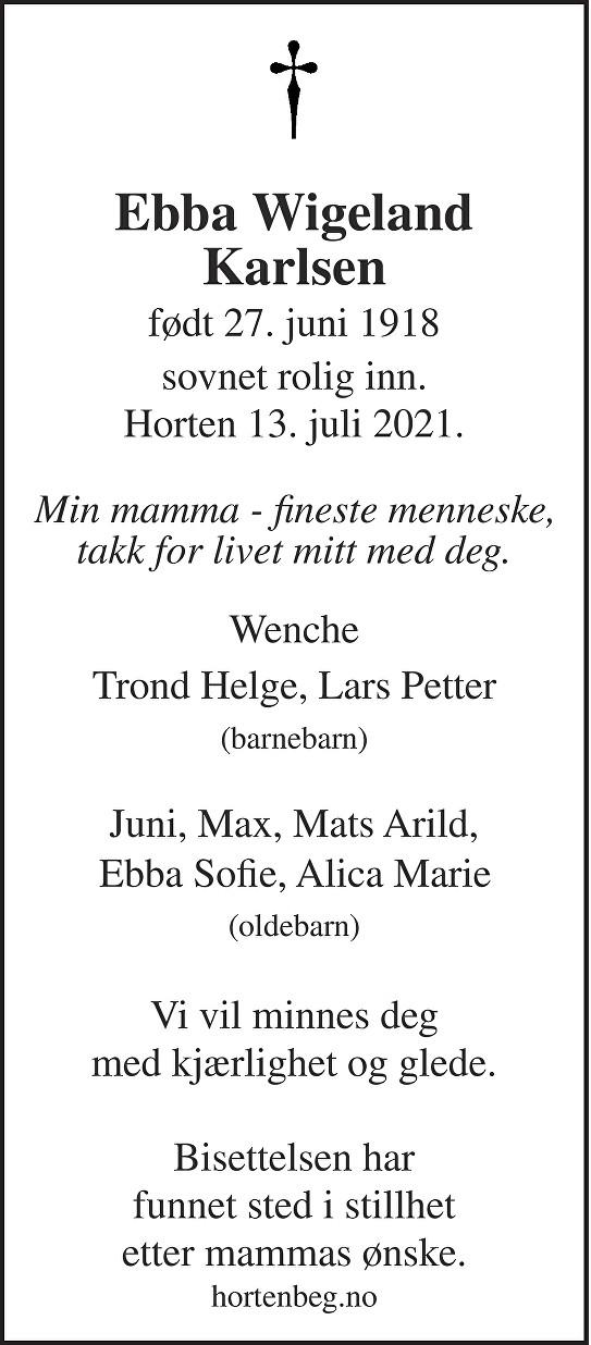 Ebba Wigeland Karlsen Dødsannonse