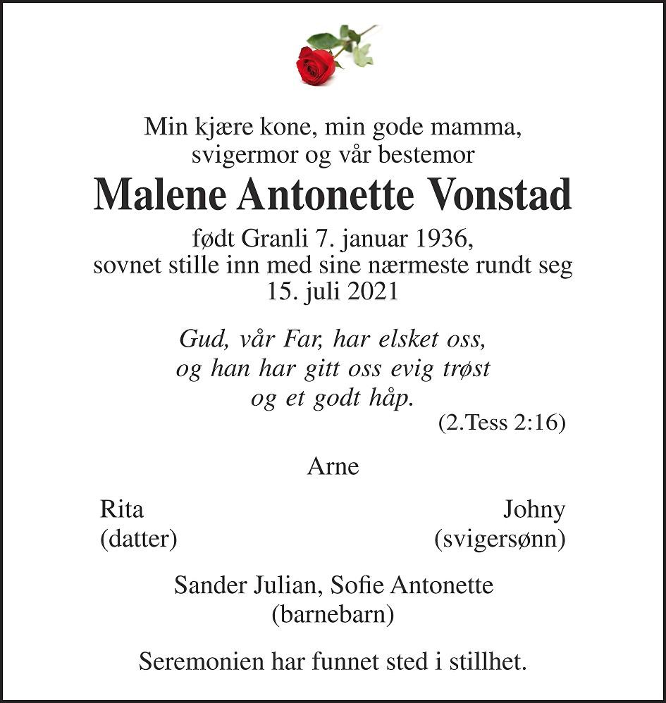 Marlene Vonstad Dødsannonse