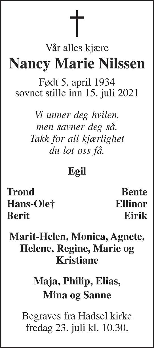 Nancy Marie Nilssen Dødsannonse